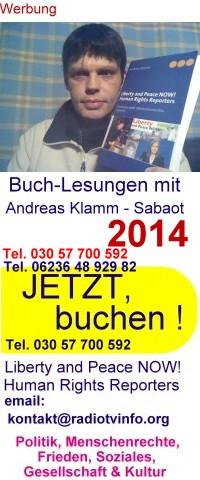 Buchlesungen von und mit Andreas Klamm - Sabaot Tel. 030 57 700 592
